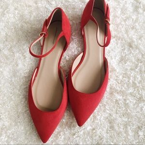 J. Crew Lily Red Suede Flats
